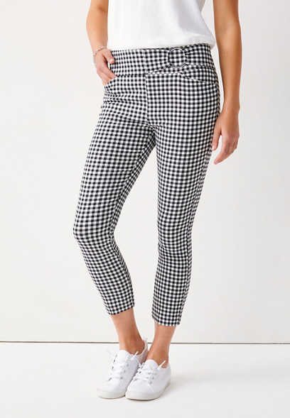 Gingham Bengaline Cropped Pant