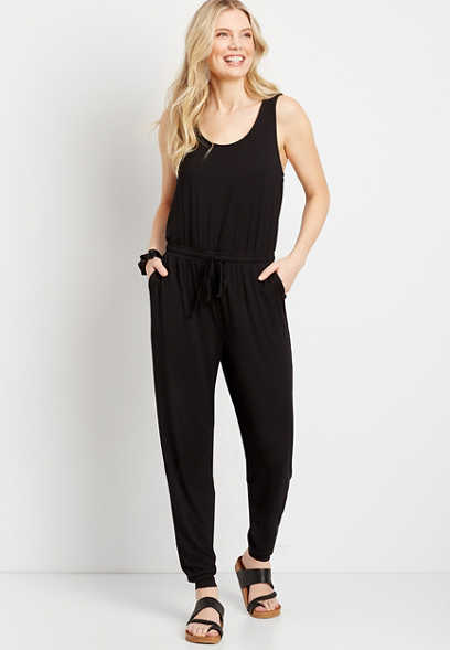 24/7 Solid Jogger Drawcord Pocket Jumpsuit