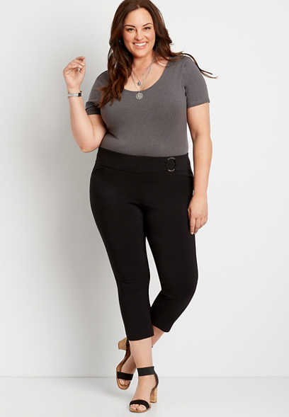 Plus Size Black Bengaline Cropped Pant