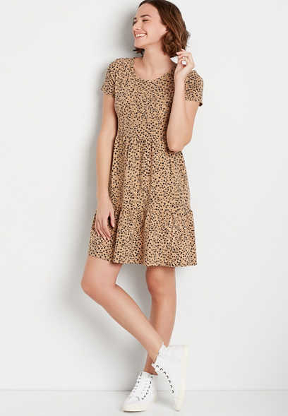 24/7 Cheetah Babydoll Mini Dress