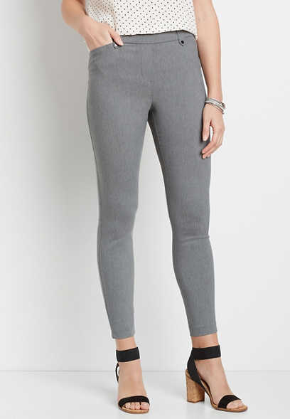 Gray Bengaline Skinny Ankle Pant