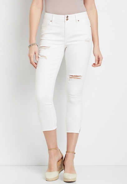 Vintage White High Rise Double Button Cropped Jean
