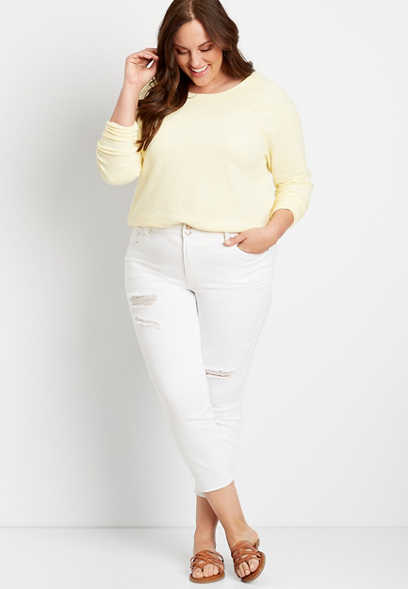 Plus Size Vintage White High Rise Double Button Cropped Jean
