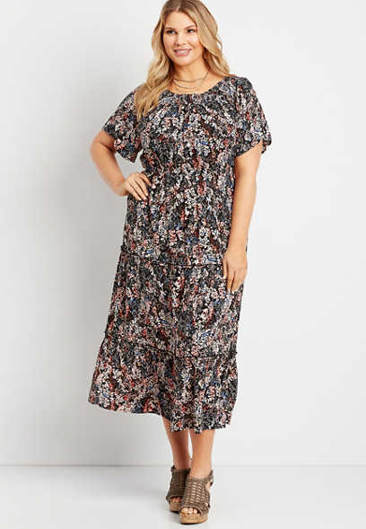Plus Size Blue Floral Smocked Neck Midi Dress
