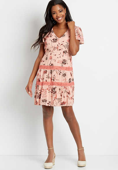 Pink Floral Lace Trim Babydoll Dress