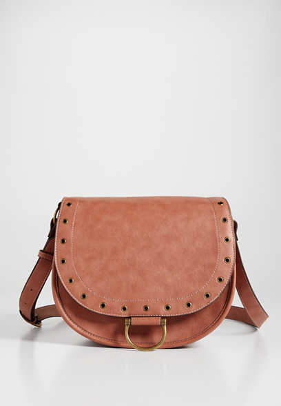 Dusty Rose Grommet Crossbody Saddle Bag