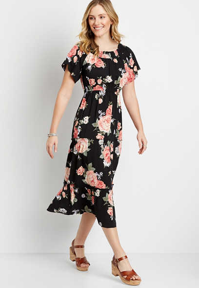 Black Floral Smocked Neck Midi Dress