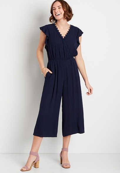 Navy Lace Trim Flutter Sleeve Pocket Jumpsuit
