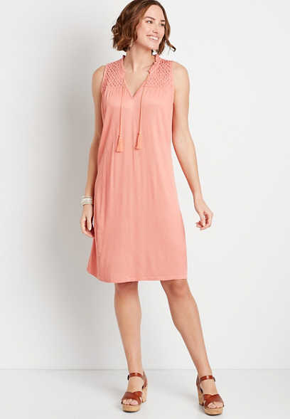 Solid Ruffle Neck Shift Dress