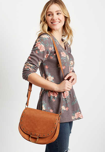Cognac Grommet Crossbody Saddle Bag