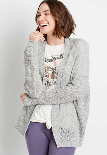 Solid Oversized Open Front Cardigan