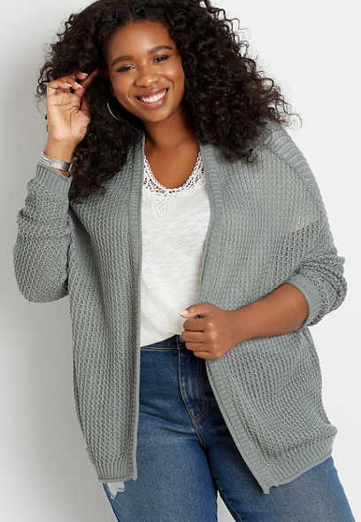 Plus Size Solid Oversized Open Front Cardigan