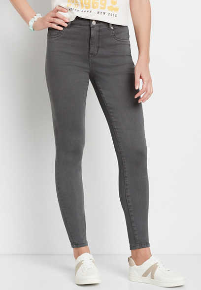 High Rise Gray Double Button Jegging Made With REPREVE®