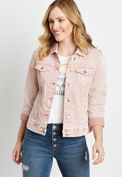 Pink Acid Wash Denim Jacket