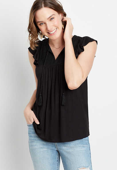 Solid Lace Yoke Tassel Top