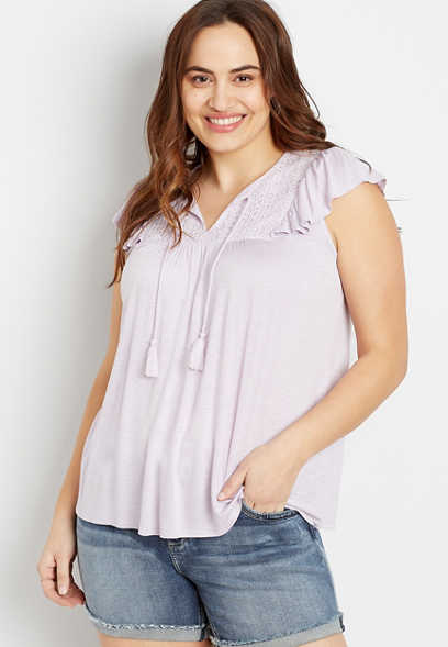 Plus Size Lavender Lace Yoke Tassel Top