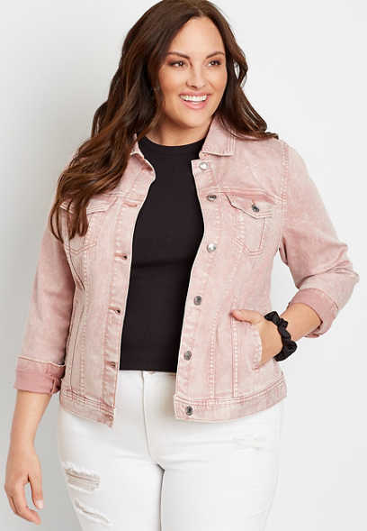 Plus Size Pink Acid Wash Denim Jacket