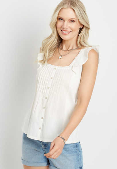 Flutter Sleeve Button Front Blouse