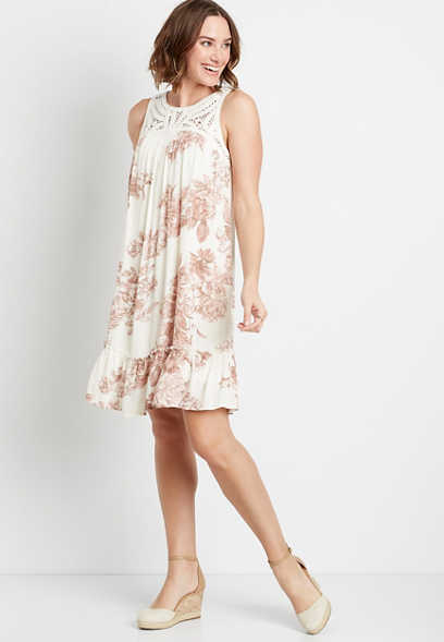 White Floral Crochet Top Shift Dress