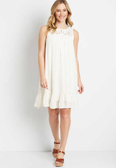White Crochet Top Shift Dress