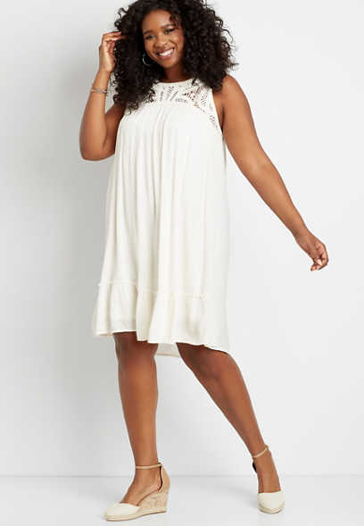 Plus Size White Crochet Top Shift Dress