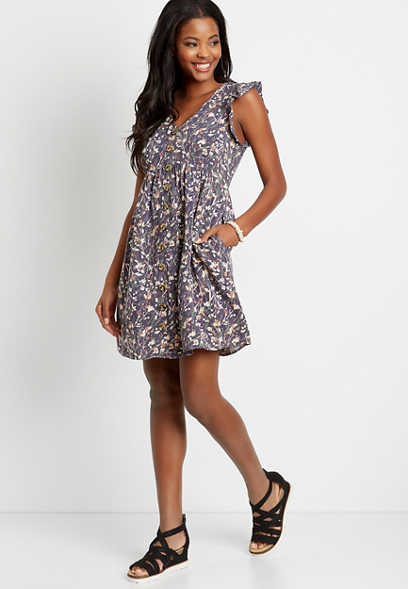 Floral Button Front Flutter Sleeve Mini Dress