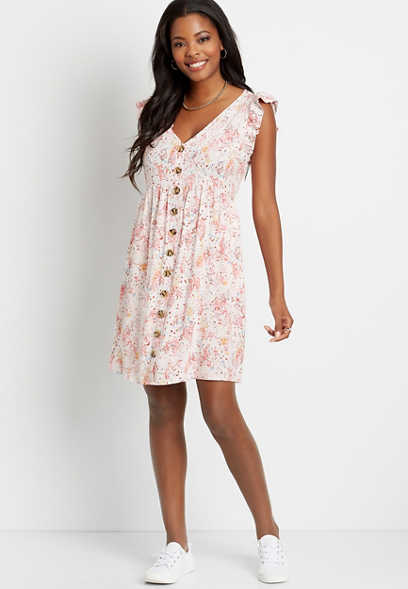 Pink Floral Button Front Flutter Sleeve Mini Dress