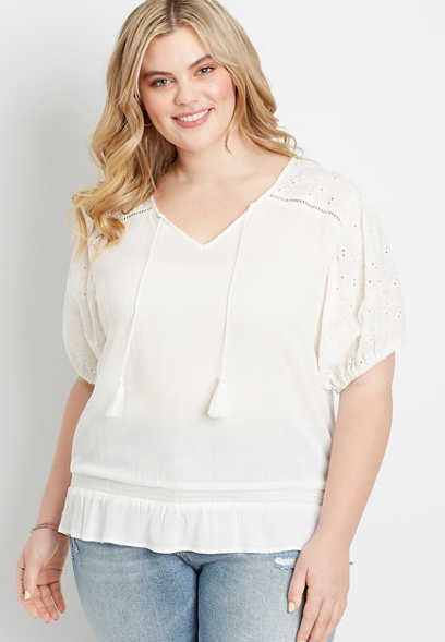 Plus Size White Eyelet Lace Puff Sleeve Top