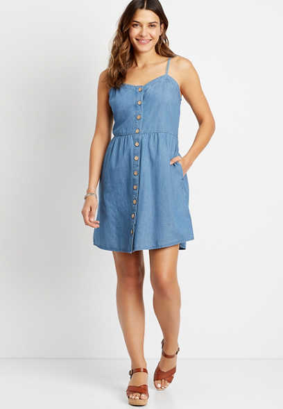 Chambray Button Front Mini Pocket Dress