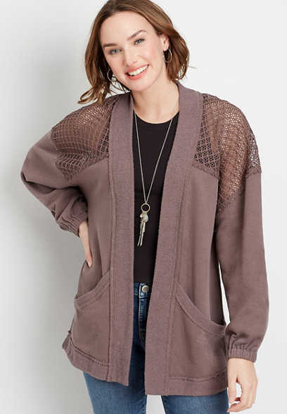 Brown Crochet Open Front Cardigan