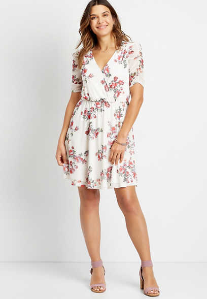 White Floral Ruched Sleeve Mini Dress