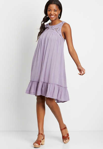 Lavender Crochet Top Shift Dress