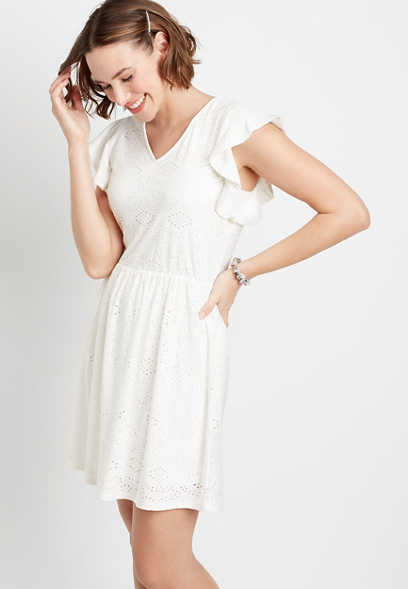 White Eyelet Lace Flutter Sleeve Mini Dress