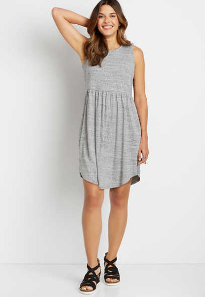 24/7 Gray Empire Waist Pocket Dress