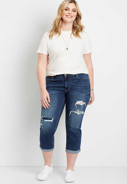 Plus Size Dark Ripped Boyfriend Cropped Jean