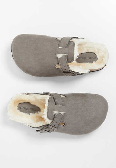 Stella Gray Faux Fur Slipper Clog