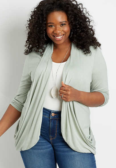 Plus Size Green 3/4 Sleeve Slouchy Pocket Cardigan