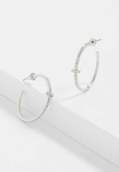 Silver Rhinestone Cross Hoop Earrings