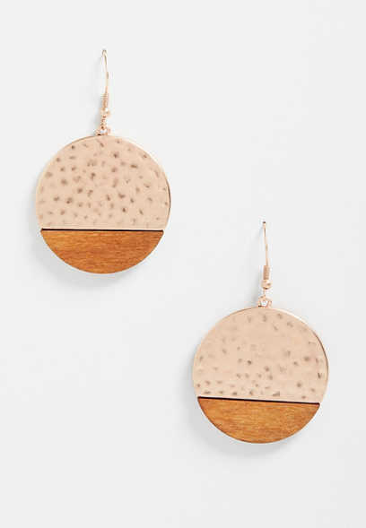 Hammered Metal Wood Drop Earrings