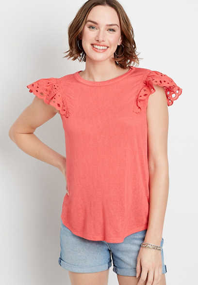 Eyelet Solid Flutter Short Sleeve Top