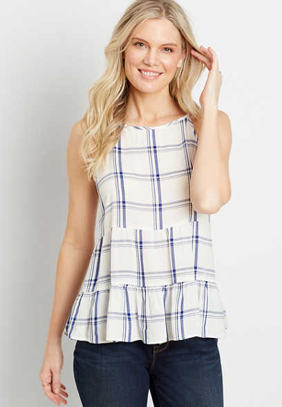 White Plaid Babydoll Tank Top