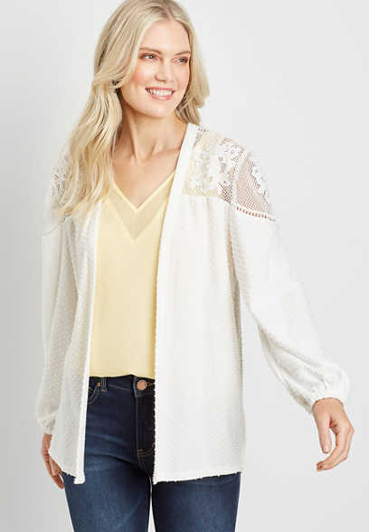 White Lace Yoke Swiss Dot Open Front Cardigan