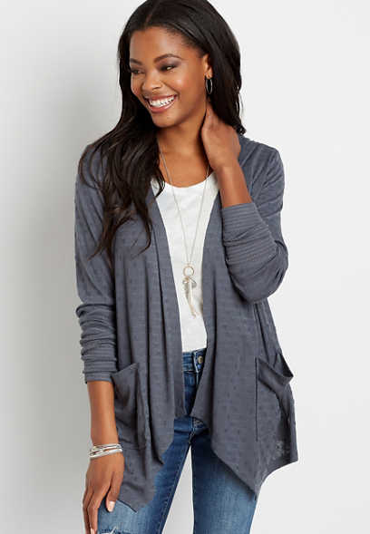 Gray Hooded Cardigan
