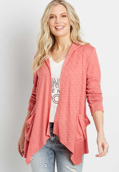 Coral Hoooded Cardigan