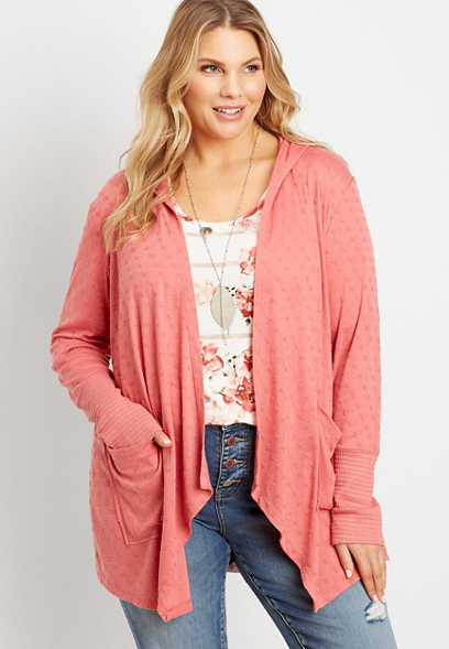 Plus Size Coral Hooded Cardigan