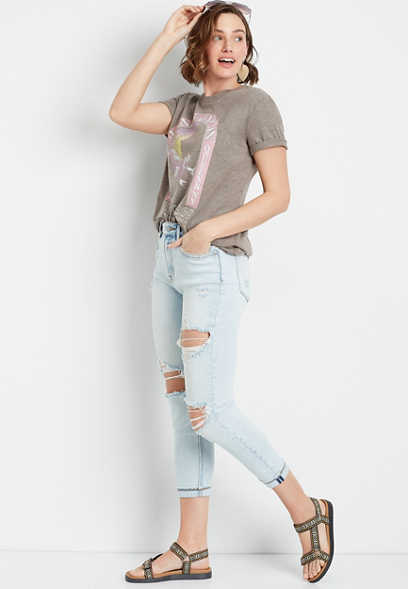 Vigoss® High Rise Light Wash Slim Straight Cropped Jean