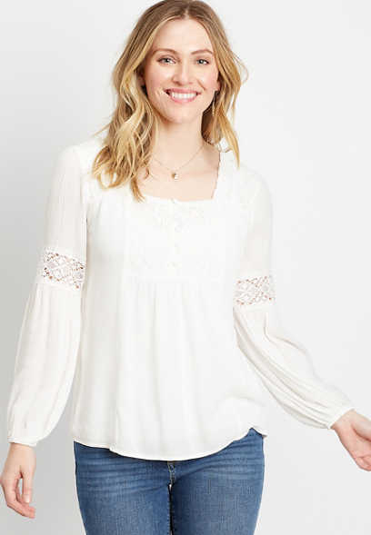 White Square Neck Lace Top