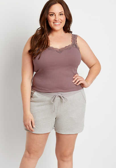 Plus Size Light Heather Gray 5in French Terry Short