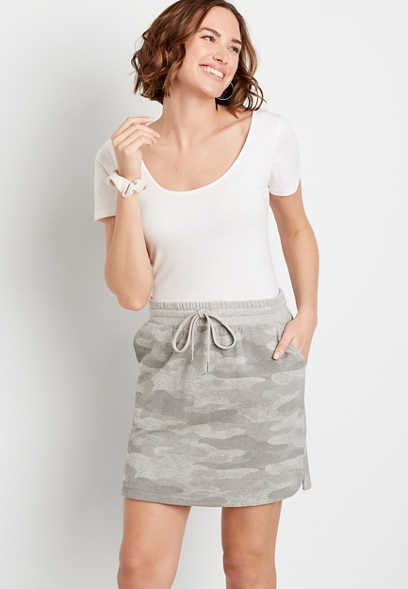 Camo French Terry Skirt