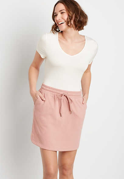 Pink French Terry Skirt